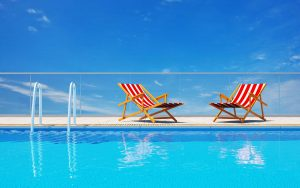 deck chairs and pool