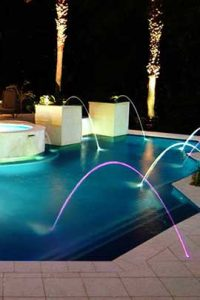Pool water features at night